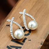 Korean Fashion Cross Crystal Stud Earrings - Earrings - Proshot Bazaar