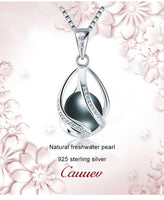 Cauuev Genuine 100% Natural Freshwater Pearl 925 Sterling Silver Pendant Necklace - Necklaces - Proshot Bazaar
