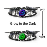 12 Constellation Zodiac Sign Black Braided Leather Bracelet - Bracelets - Proshot Bazaar