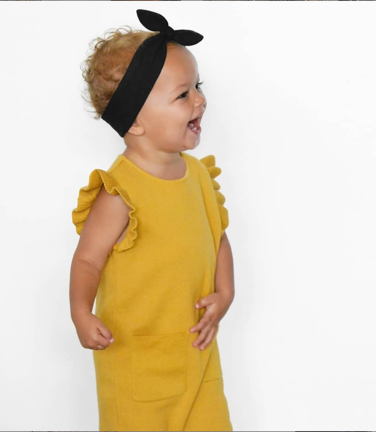Knit Ruffle Dress Ochre