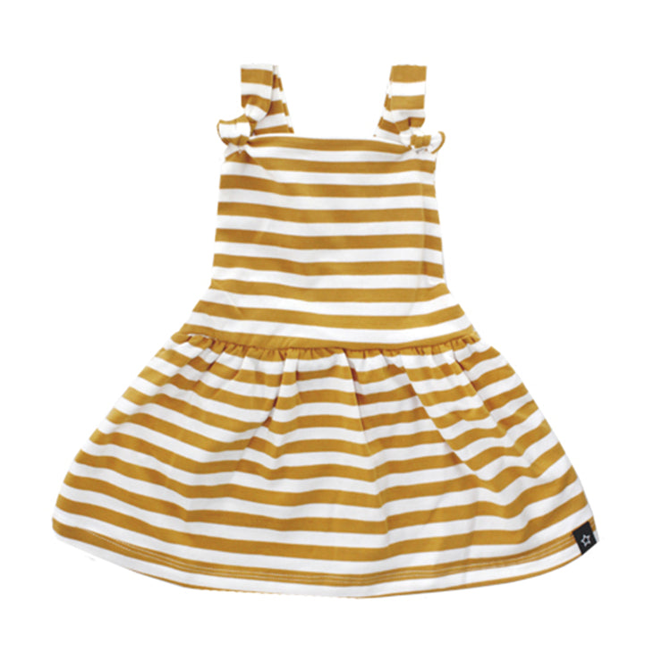 Ochre Stripes Dungaree Dress