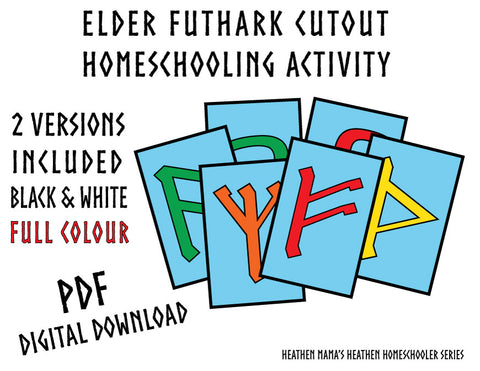 Elder Futhark & Alphabet Art Cutout Activity Printable - Heathen Homeschooler