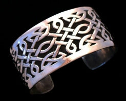 Eternal Knot - Handcrafted Silver Celtic Knotwork Overlay Bracelet
