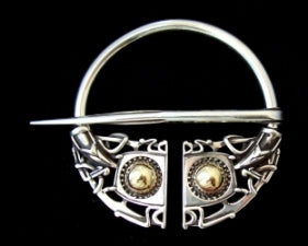 Openwork Brooch (Amber Stones) - Handcrafted Sterling Silver Viking Brooch