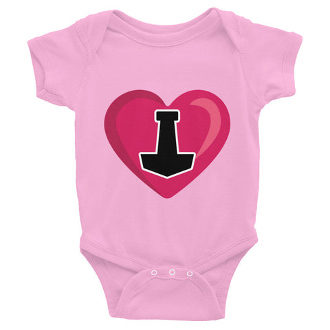 I Love Thor hammer Mjolnir Heart Asatru Onesie Baby Girls Made in USA