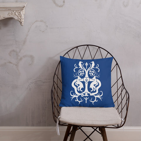 Yggdrasil Tree of Life Heathen Throw Pillow in Blue