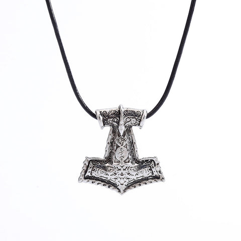 Hammer of Thor Raven Mjolnir Asatru Heathen Odinist Pendant Necklace Jewelry