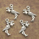 Baby Bottle Baby Rattle Stork Charms