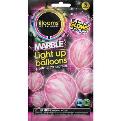 illooms Pink Marble LED Light Up Balloons