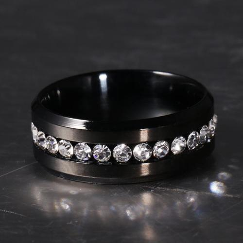 Black Rhinestone Stainless Steel Band