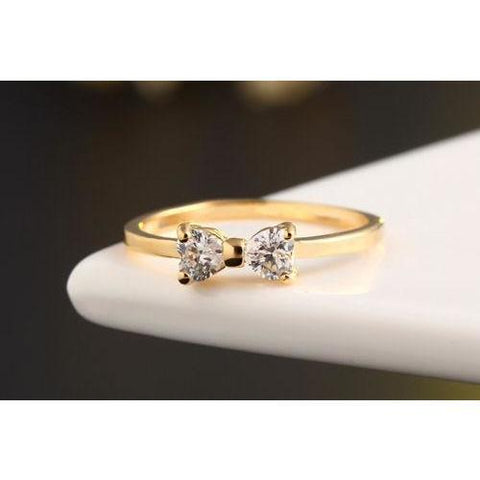 Golden Rhinestone Bow Tie Ring