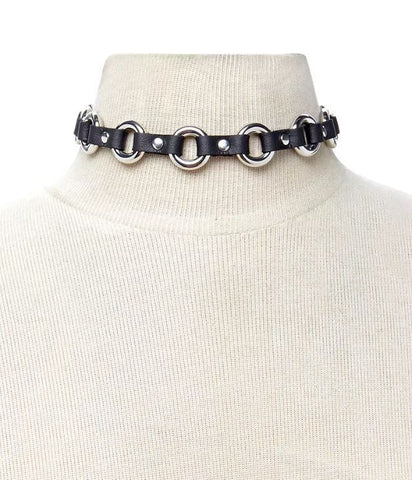 O-Ring w/Black Faux Leather Choker