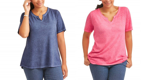 Terra & Sky Women's Split Neck Blouse Tee