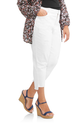Terra & Sky Women's Plus Destructed Boyfriend White Jeans