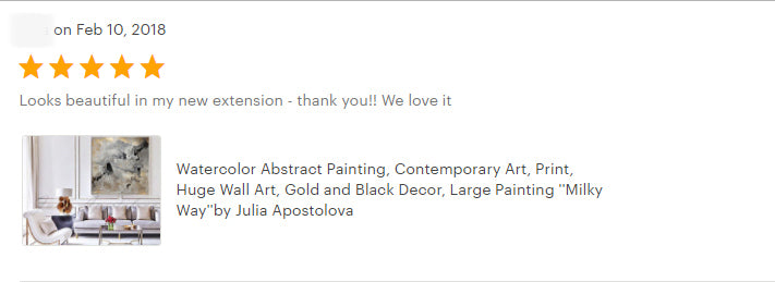 review, happy clients, Milky Way, Gold Leaf, Abstract Painting, Gray Gold Black, Watercolor Abstract, Canvas Print, Modern Wall Decor, Julia Apostolova, Extra Large Wall Art, Set of Two Abstract Paintings, 2 Canvas Prints Black Gold Teal Julia Apostolova, Large Wall Art, interior, design, home decor, interior designer, art collector
