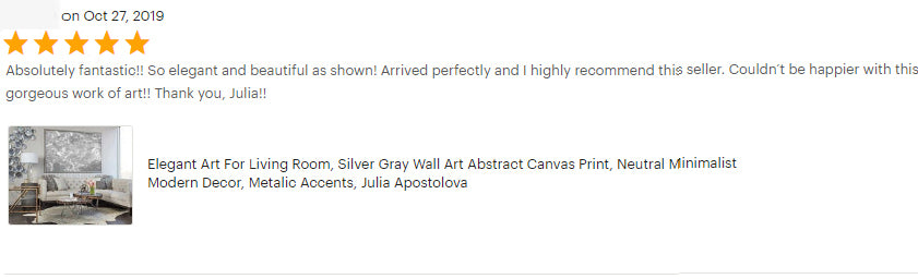 Elegant Art, Luxury Art, HAPPY CUSTOMERS, Minimalist Art, Review, Abstract Painting Canvas Wall Art, Silver Shinning Mettalic Accents