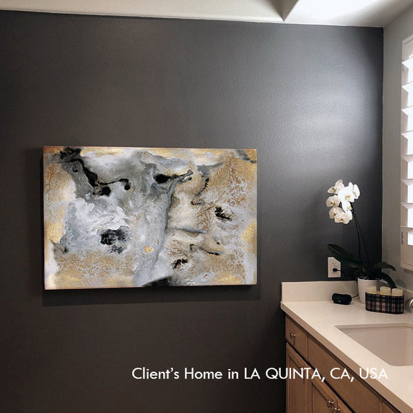 painting, milky way, gold leaf, gold, black, gray, gray, watercolor, abstract, fluid, coastal decor, beach condo, clients home, happy customers, julia apostolova, interior, modern, contemporary