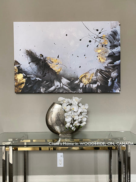 gold leaf painting, clients home, gold leaf wall art, black white, minimalist, gold black, decoration, interior, decor, abstract art, painting, julia apostolova, juliaapostolova, canvas print, modern, contemporary, ready to hang