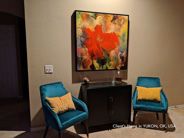 clients home, julia apostolova, art by julia, flower painting, modern, boho, abstract floral, interior, livingroom, decor, abstract art, painting, juliaapostolova, canvas print, dinning room, ready to hang, interior, design, trend art,