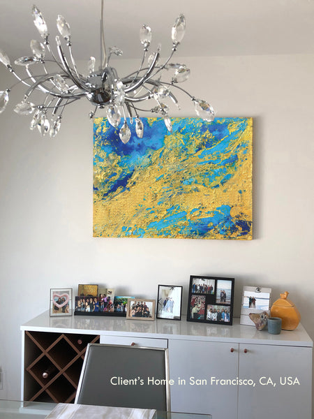 coastal art, seascape painting, blue, turquoise, gold, watercolor, abstract, fluid, beach, coastal decor, beach condo, clients home, happy customers, julia apostolova, interior, photo, modern, contemporary