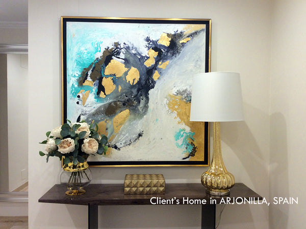 luxury decor, wall art, clients home, happy customers, julia apostolova, painting, white, grey, gold leaf, gold, black, gray, watercolor, abstract, fluid, coastal decor, luxury home, interior, modern, contemporary