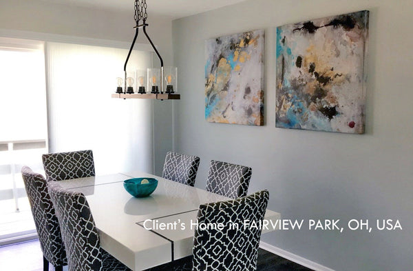 painting, luxury decor, happy customers, julia apostolova, interior, modern, 3 wall art set, diptych, gold leaf, gold, turquoise, gray, teal, black, watercolor, abstract, coastal decor, beach condo, clients home, contemporary