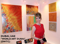 Julia Apostolova, artist, fine artist, painter, abstract art, abstract artist, exhibition, dubai, world art dubai