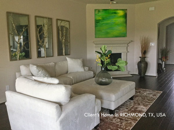 coastal art, seascape painting, green, gold, watercolor, abstract, fluid, beach, coastal decor, beach condo, clients home, happy customers, julia apostolova, interior, photo, modern, contemporary