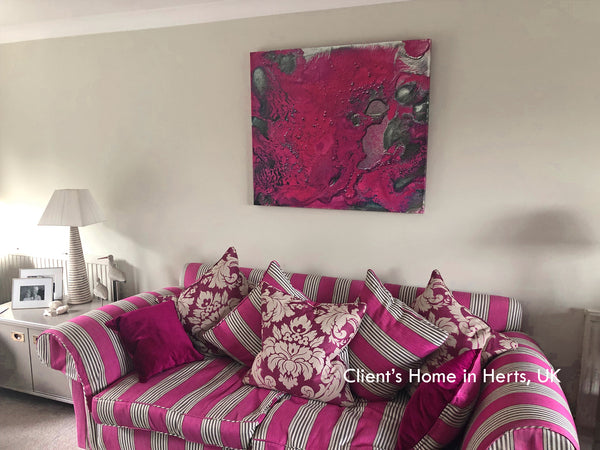 pink, purple, art, abstract, silver, painting, abstract art, clients home, happy customer, julia apostolova, living room, interior, decor
