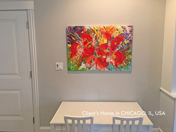 original art, floral painting, julia apostolova, interior, oil, acrylic, chicago, usa, blue, red, yellow, green, blue, colorful, turquoise, gold, , abstract, fluid, beach, coastal decor, beach condo, clients home, happy customers, photo, modern, contemporary
