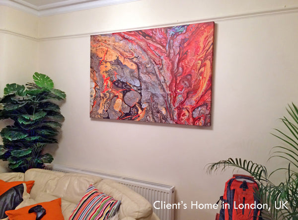 red, yellow, gold, colorful, art, abstract, cell painting, abstract art, clients home, happy customer, julia apostolova, living room, interior, decor
