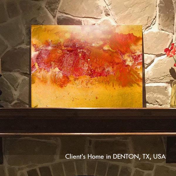 orange art, abstract painting, yellow, gold, watercolor, abstract, fluid, mountain decor, beach condo, clients home, happy customers, julia apostolova, interior, photo, modern, contemporary