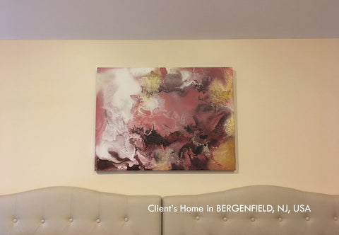 painting, watercolor, gold leaf, client's home, gold, black, pink, brown, copper, watercolor art, abstract, fluid, modern decor, beach condo, clients home, happy customers, julia apostolova, interior, modern, contemporary