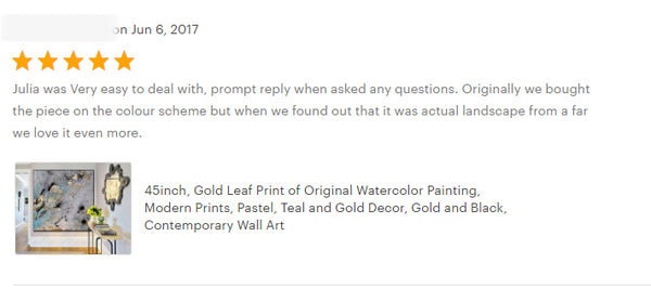 happy clients, review, julia apostolova, gold leaf art, black grey gold teal, turquoise, watercolour, happy clients, watercolor print, modern wall decor, wall art decor, wall art, contemporary two abstract prints, two abstract paintings, modern decor, canvas prints