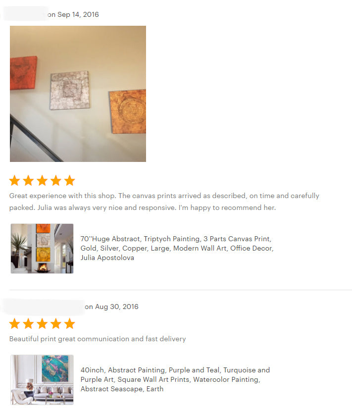 reviews, gold silver copper, triptych, set of 3, happy clients, testimonials, abstract art, original painting, canvas print, julia apostolova, interior, decor, home, office, photo