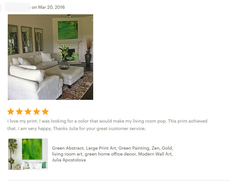 reviews, green abstract, large wall art, happy clients, testimonials, abstract art, original painting, canvas print, julia apostolova, interior, decor, home, office, photo