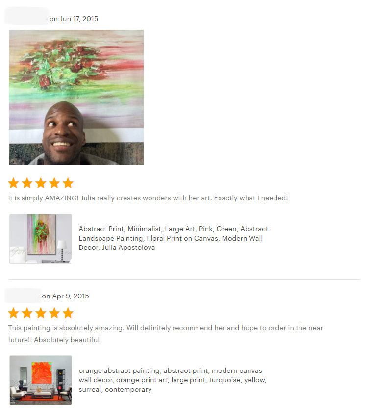 reviews, happy clients, testimonials, abstract art, orange abstract, original painting, canvas print, julia apostolova, interior, decor, home, office, photo