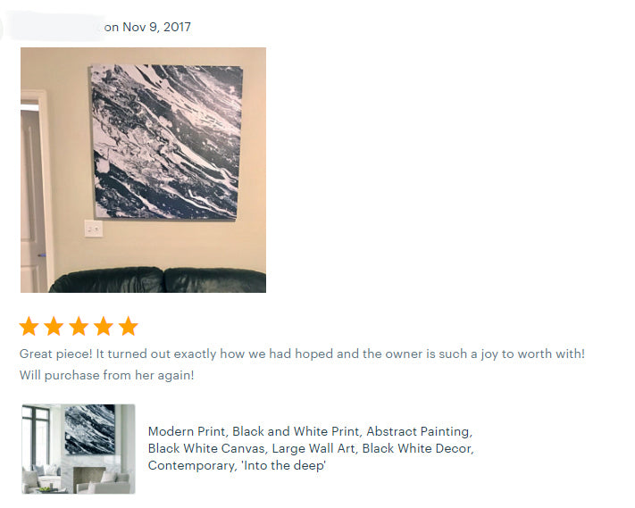 reviews, happy clients, black and white testimonials, abstract art, original painting, canvas print, julia apostolova, interior, decor, home, office, photo