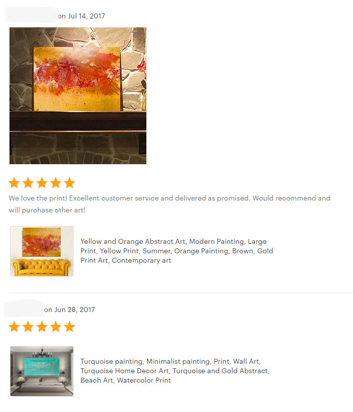 reviews, yellow orange abstract art, happy clients, testimonials, abstract art, original painting, canvas print, julia apostolova, interior, decor, home, office, photo