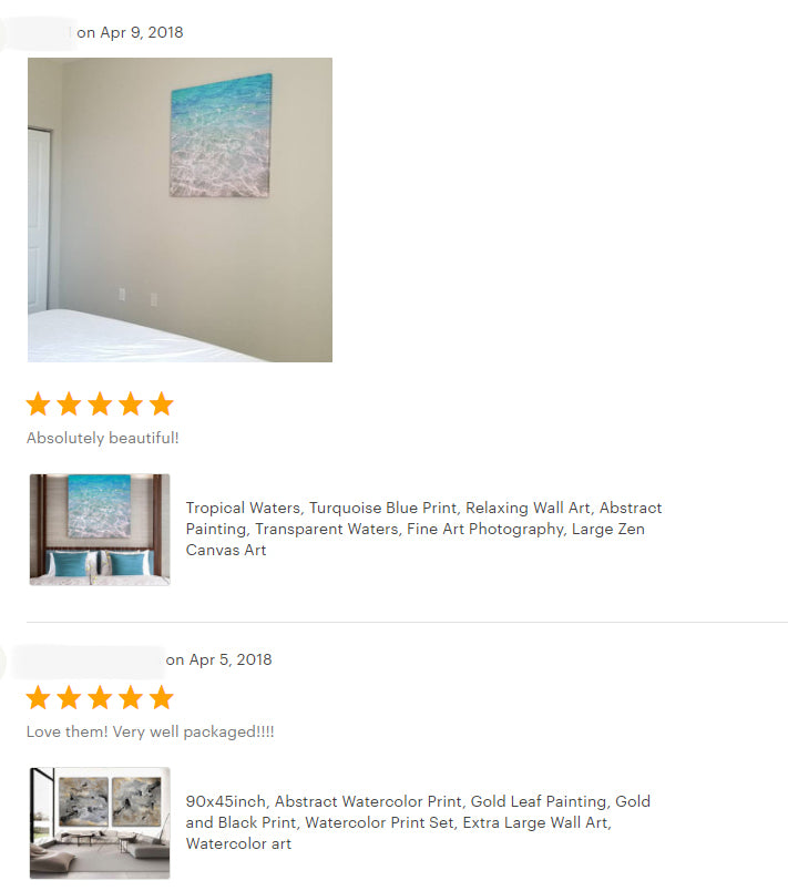 julia apostolova, review, happy clients, milky way, diptych, seascape, water abstract, relaxing art, zen art, sea print, bedroom, living romm, decor, interior, home decor,