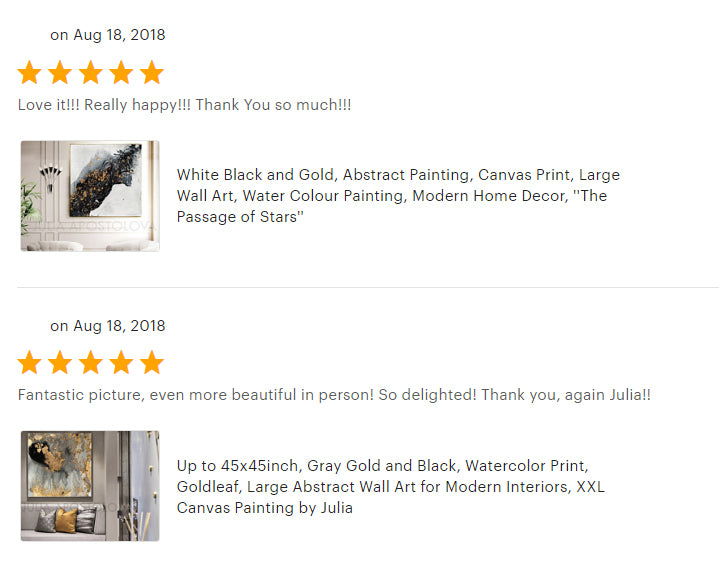 black and white abstractpainting, large wall art, julia apostolova, review, happy clients, gold leaf, happy customers, gold abstract, gold leaf abstract art, zen art, canvas print, bedroom, living romm, black gold teal, dinning room, decor, interior, client photo, clients house, home decor,