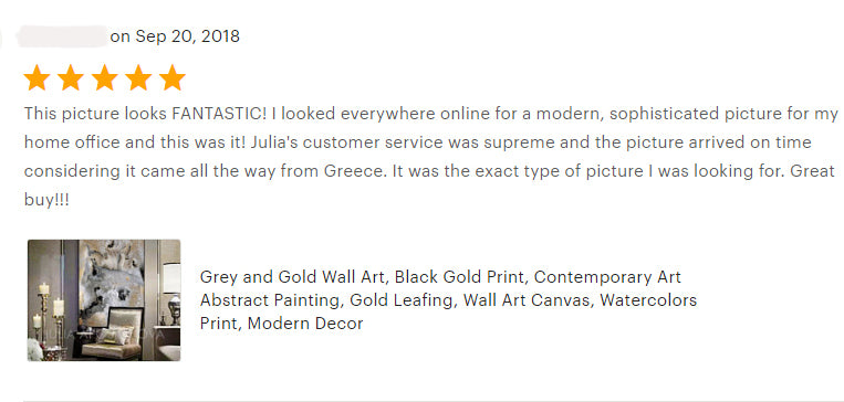 milky way, abstract paintings, happy clients, reviews, julia apostolova, review, happy customers, gold leaf, milky way, gold abstract, gold leaf abstract art, zen art, canvas print, bedroom, living romm, black gold teal, dinning room, decor, interior, client photo, clients house, home decor,