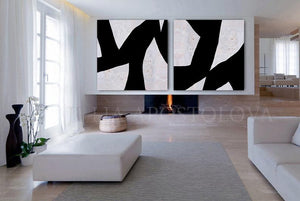 Black White Wall Art Abstract Paintings, Geometric Black White Two Textured Canvas, Modern Decor, Julia Apostolova, Modern Office Decor, Nordic Decor, Large Wall Art