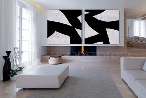 Black White Wall Art, Abstract Paintings, Geometric Black White Art,Two Cancases, Textured Canvas, Modern Decor, Julia Apostolova, Modern Office Decor, Nordic Decor, Large Wall Art, Livingroom Art, Wall Decor, Textured Prints, Huge Wall Art