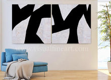 Black White Wall Art Abstract Paintings, Geometric Black White Two Textured Canvas for Modern Decor
