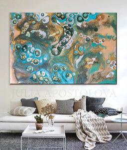 Beige Teal Gold Turquoise, Coastal Wall Art, Fluid Sell Painting, Abstract Print, Julia Apostolova