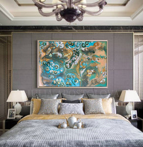 Beige Teal Gold Turquoise, Coastal Wall Art, Fluid Sell Painting, Abstract Print, Julia Apostolova, Cell Painting, Coastal Decor, Abstract Seascape Painting, Large Wall Art, Gold, Copper, Teal, Interior, Decor, Bedroom, Livingroom Art