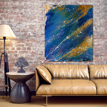 Navy Blue Abstract Ocean Painting with Gold, Galaxy Wall Art,Space Canvas Art Print Julia Apostolova