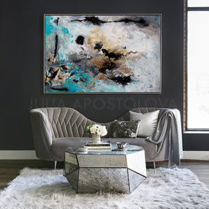 Gray Gold Black Wall Art Abstract Painting Canvas Print, Modern Gold Leaf Art 'Calm After The Storm', luxury art. glam decor, gold leaf painting, interior design, julia apostolova, interior designer, abstract watercolor, canvas print, wall decor, interior, large wall art, grey wall art, gray wall art, shining accents, golden details, living room, dinning room, lobby hotel decor, office, bedroom, contemporary,