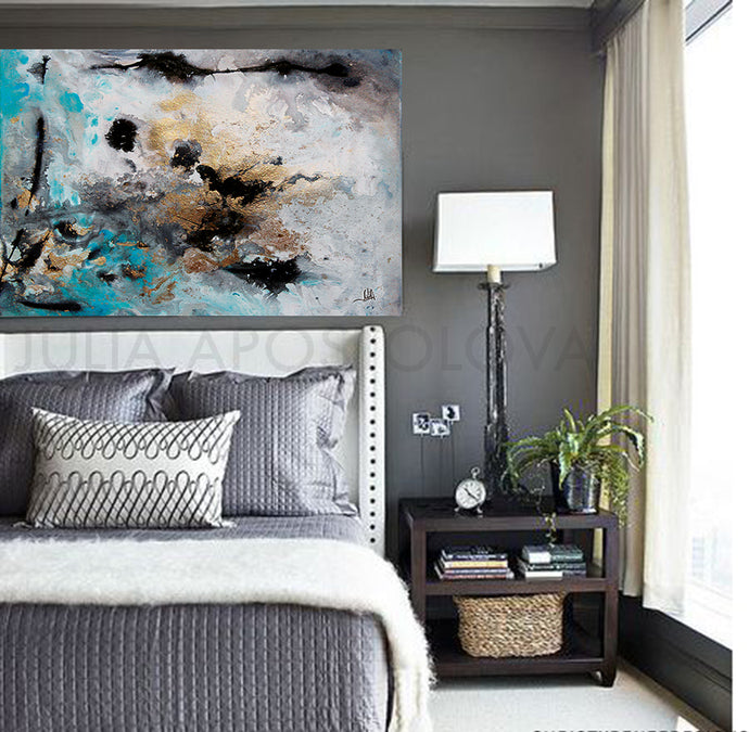Large Wall Art, Gold  Leaf, Abstract Painting, Gray Gold Turquoise Black, Watercolor Abstract, Canvas Print, Modern Wall Decor, Visual Fine Art, Calm After The Storm, Julia Apostolova, interior, design, home decor, interior design, art collector